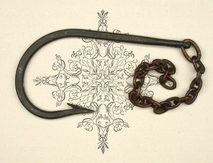 19. E Vom Hofe, about 11/0, needle eye, welded links, knife edge, forged, seems to have been tinned at some time, ca 1900