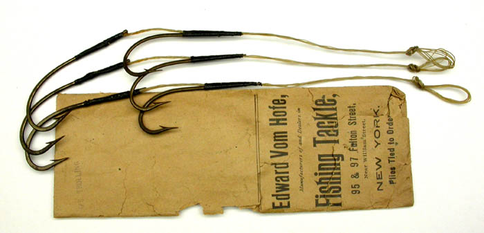 2a Edward Vom Hofe, marked 6/0, 4 strand gut, knobbed. package marked O'S trolling, ca 1900. 1900's collection.