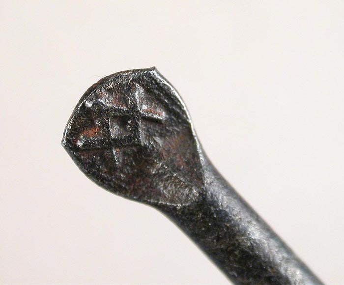 "22c Clerk, Green & Baker hook with a Mason's symbol on the flat and the name embossed on the bottom of the shank. There is no place of manufacture on the hook. Hook is about 3 ¾"" long and a gape of about 1 1/8"" directly above the point. This hook and #33 are almost the same length, the bends are virtually identical and except for the slight upturn in the shank and slightly lower point, one could surmise they came from the same hook shop. I am not saying they were but hook companies did private label hooks back in the day. See more on this hook in the English Hooks Section."