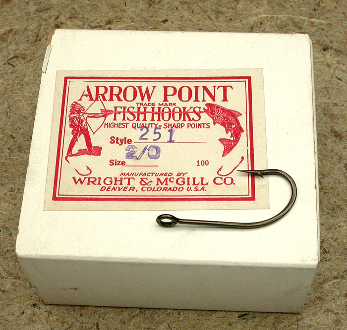 23. Wright & McGill Co., Arrow Point Fish Hooks, #2/0, #251, ring eye, bronzed.