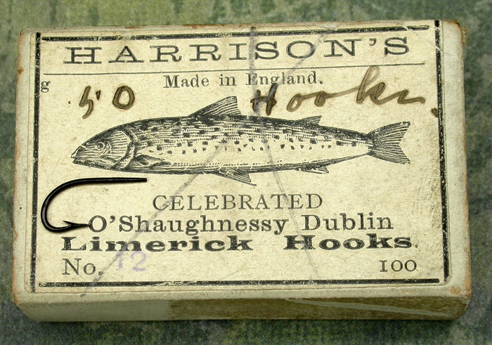 "26a  Harrison's, O'Shaughnessy Dublin, #12, tapered, japanned, England, about 5/8"" long."