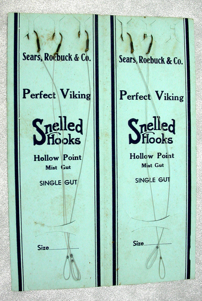 38. Sears, Roebuck & Co., snelled hooks, Perfect Viking, hollow point, single gut.