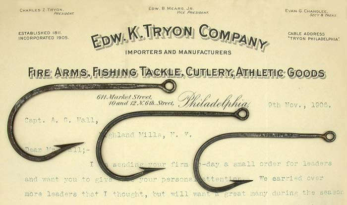 4. E Vom Hofe, NY, 15/0, 13/0, 11/0, originally japanned, welded eyed hooks, knife edge, almost the entire hook is forged. Just the area behind the eyes are not forged.