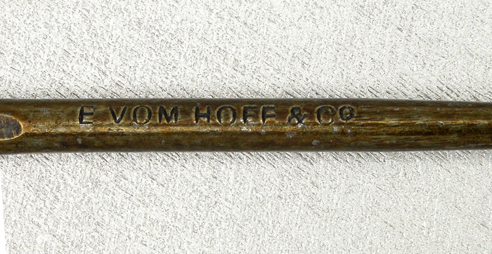 5b E Vom Hofe, About 15/0 +-, bronzed, forged, ring eye. From Craig Hoak