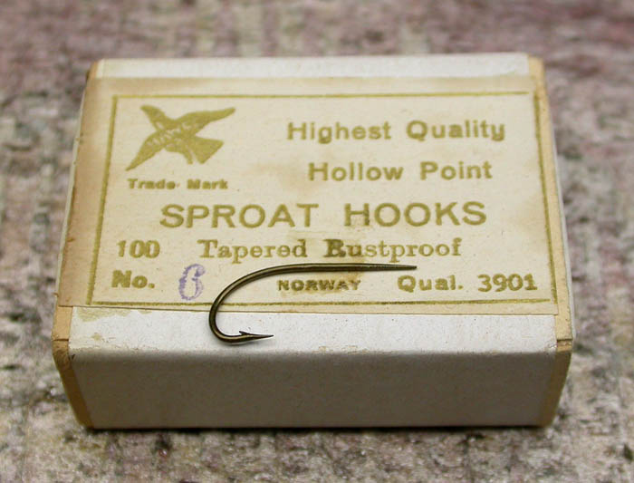 Originally I got the one box of hooks with the company name missing but it did say Norway so I assume that the O Mustad & Son company made and packaged the hooks. Recently, I was sent the other photo of a similar label with the name Thomas Hawkes & Co on it from Paul Martin and Álvaro Lopez-Watermann, both friends and avid hook collectors.