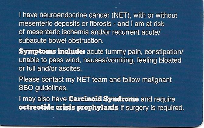 NPF Bowel Obstruction Card Back