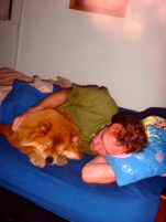 In the guest house, Ken and Q snuggled up together. (I still have that SpongeBob pillow case.) 2002ish