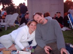 Hollywood Forever Cemetery (where they show movies) with our friend Rebecca. 2003ish
