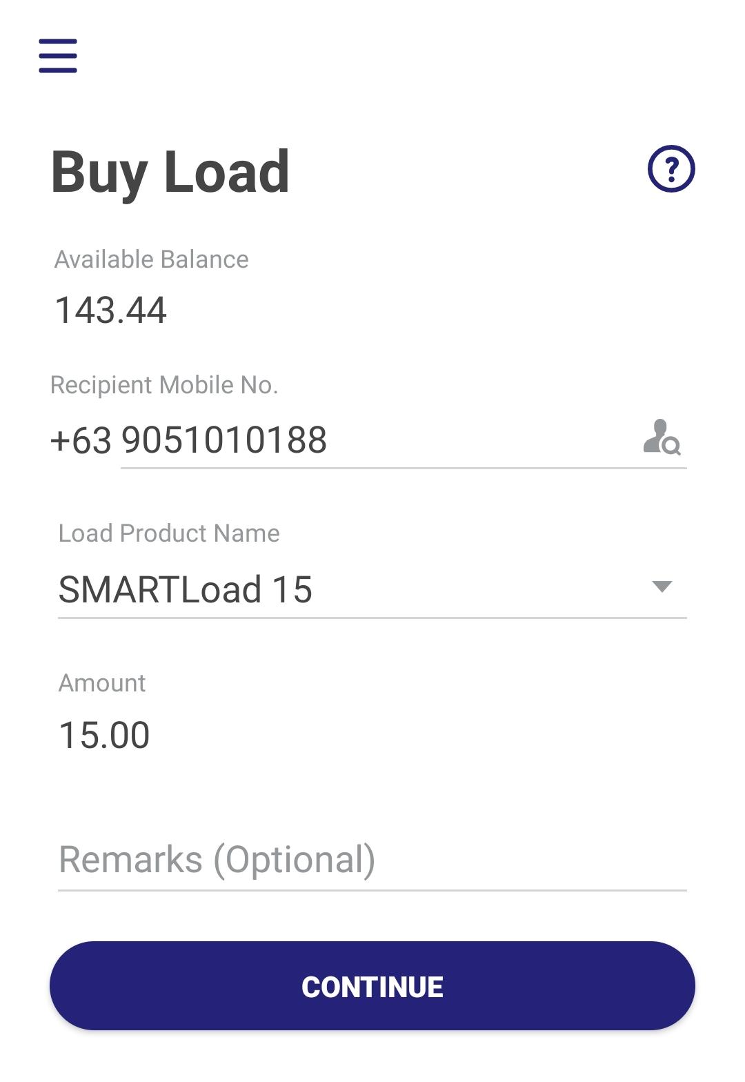 Buy load screen