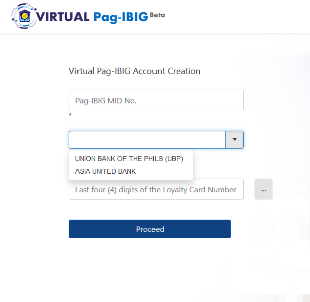 Virtual Pag-IBIG Accout Creation Registration page