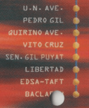 Close up of ticket with Baclaran label cut off