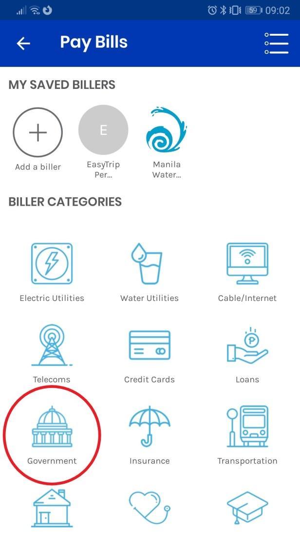 List of Gcash billers with Government category selected