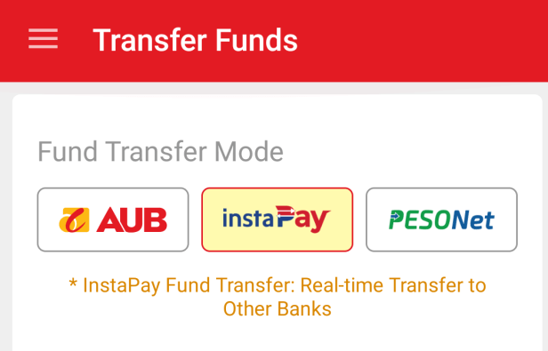 Fund Transfer Mode displaying AUB, InstaPay, and PesoNet options