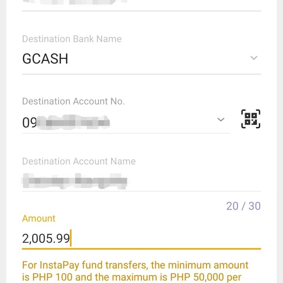 Details provided in InstaPay Fund Transfer screen