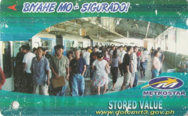 "Green MRT 3 stored value ticket with text ""Byahe Mo Sigurado"""