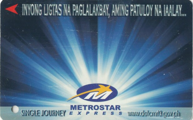 Ligtas na Paglalakbay Single Journey Ticket with blue and white rays