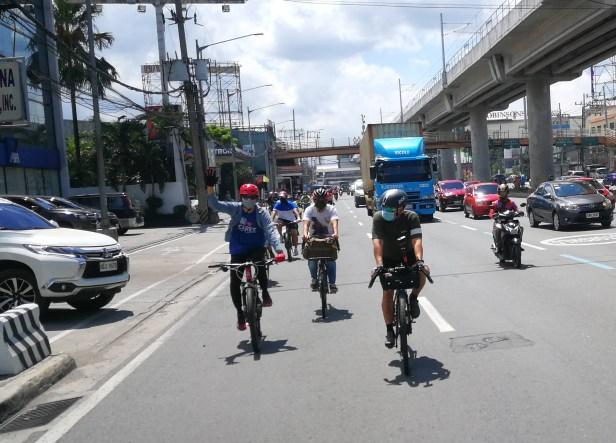 Bike contingent at Marilaque Highway