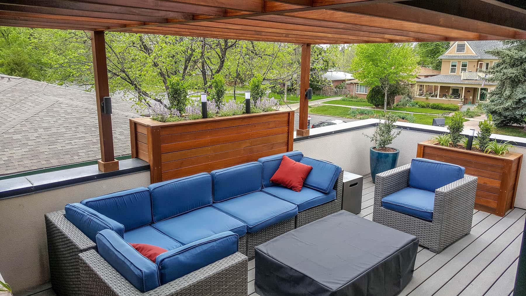 rooftop deck with outdoor tv cherry