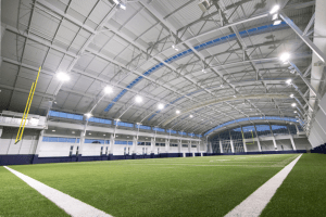 Liberty University's new indoor practice facility encloses an entire regulation football field.