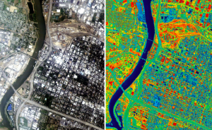An infrared scan of Sacramento, Calif., shows the range of surface temperatures in the area. Source: Lawrence Berkeley National Laboratories.