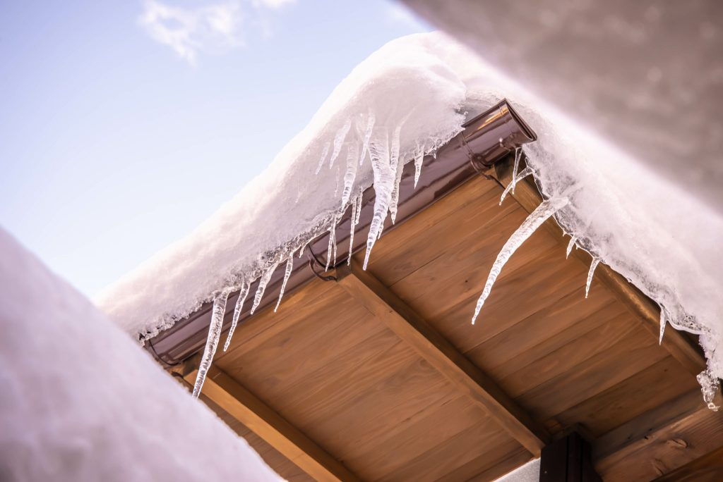 A roof with excessive snow build-up