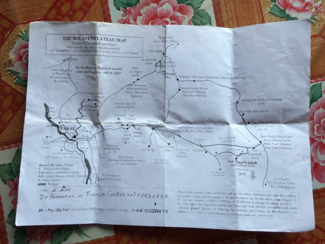 Map_Pakse_loop_motorcycle_Bolaven_plateau