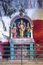Colorful Hindu shrines in the main cave