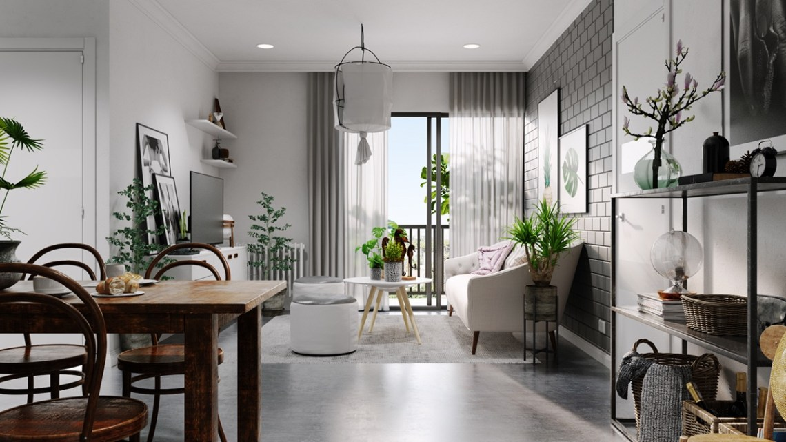 Scandinavian home design with gray and white decor