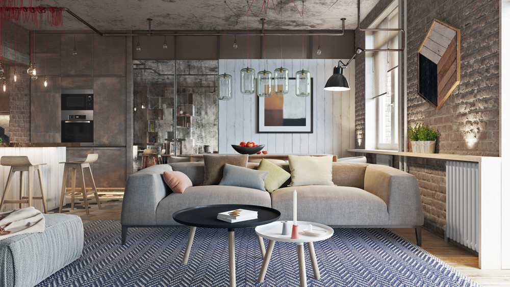 Industrial Style 3 Modern Bachelor Apartment Design