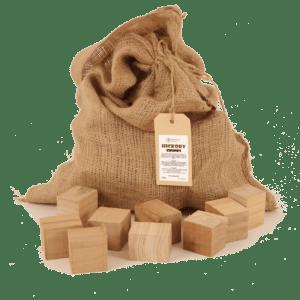 Hickory Rookhout Chunks 2-5kg voorkant met los