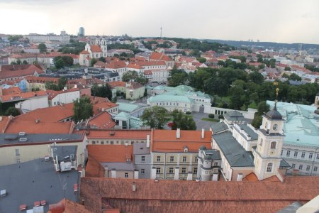 view from university tower on oldtown vilnius