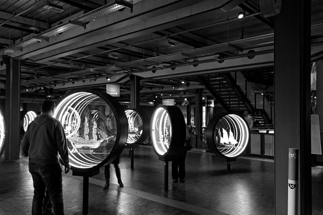 Interior view of the Technik Museum, Berlin, showing an illuminated display