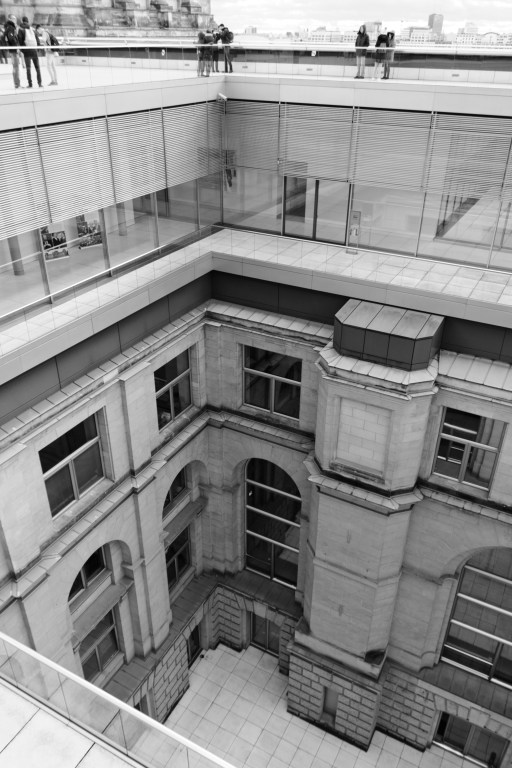 View into a courtyard from the roof of the Reichstag