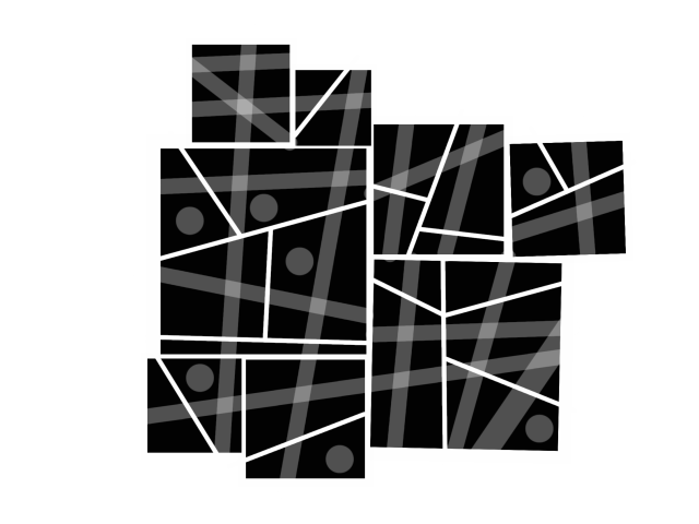 Black and white drawing of an abstract city plan