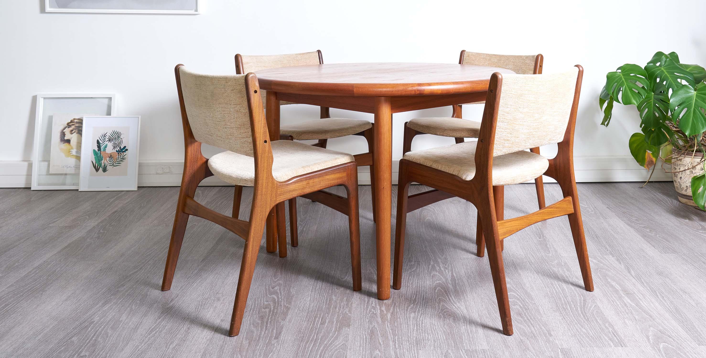 serie de 4 chaises 1960 style scandinave vendue room 30
