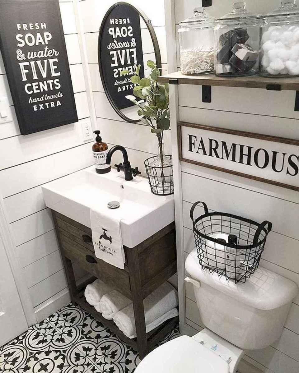 110 Spectacular Farmhouse Bathroom Decor Ideas (21