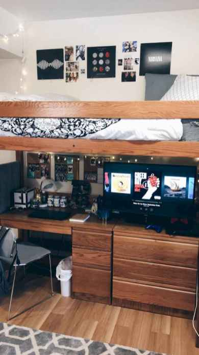 100+ cute loft beds college dorm room design ideas for girl (99)
