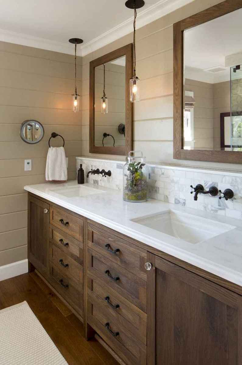 50 best farmhouse bathroom vanity remodel ideas (99)
