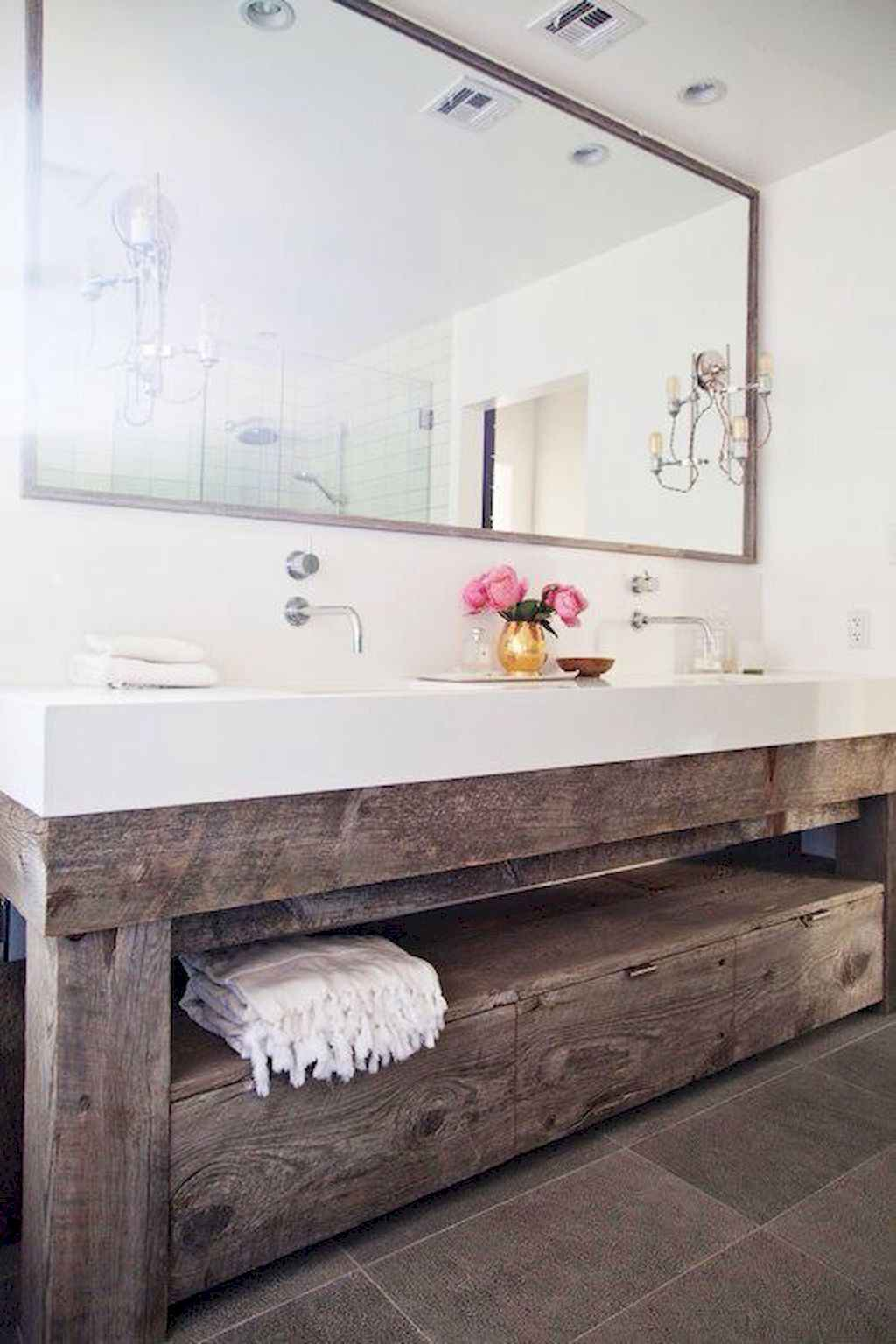 125 awesome farmhouse bathroom vanity remodel ideas (25)