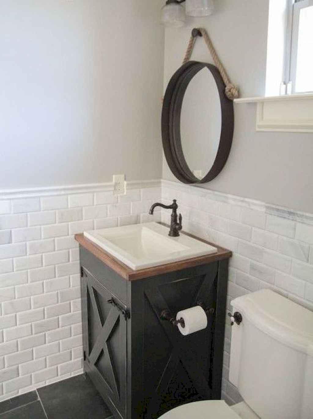 125 awesome farmhouse bathroom vanity remodel ideas (69)