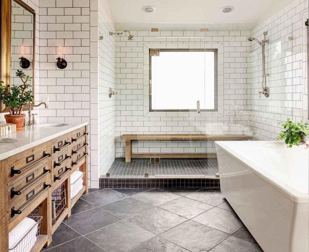 100 best farmhouse bathroom tile shower decor ideas and remodel to inspiring your bathroom (91)