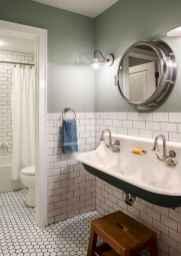 150 stunning farmhouse bathroom tile floor decor ideas and remodel to inspire your bathroom (36)