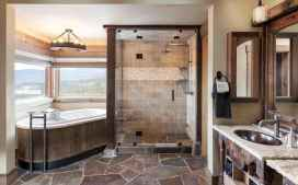 70 inspiring farmhouse bathroom shower decor ideas and remodel to inspire your bathroom (48)