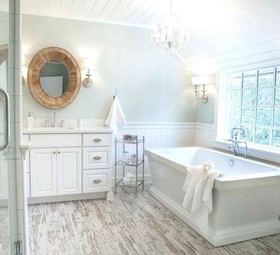 80 awesome farmhouse master bathroom decor ideas and remodel to inspire your bathroom (32)