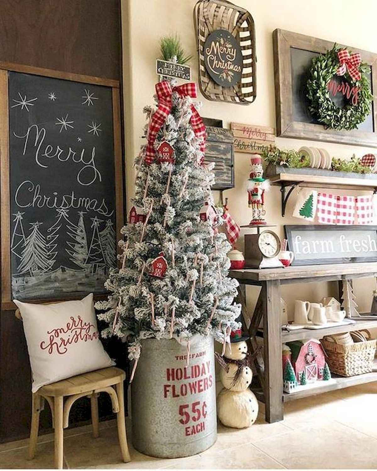 30 rustic and vintage christmas tree ideas decorations (27)