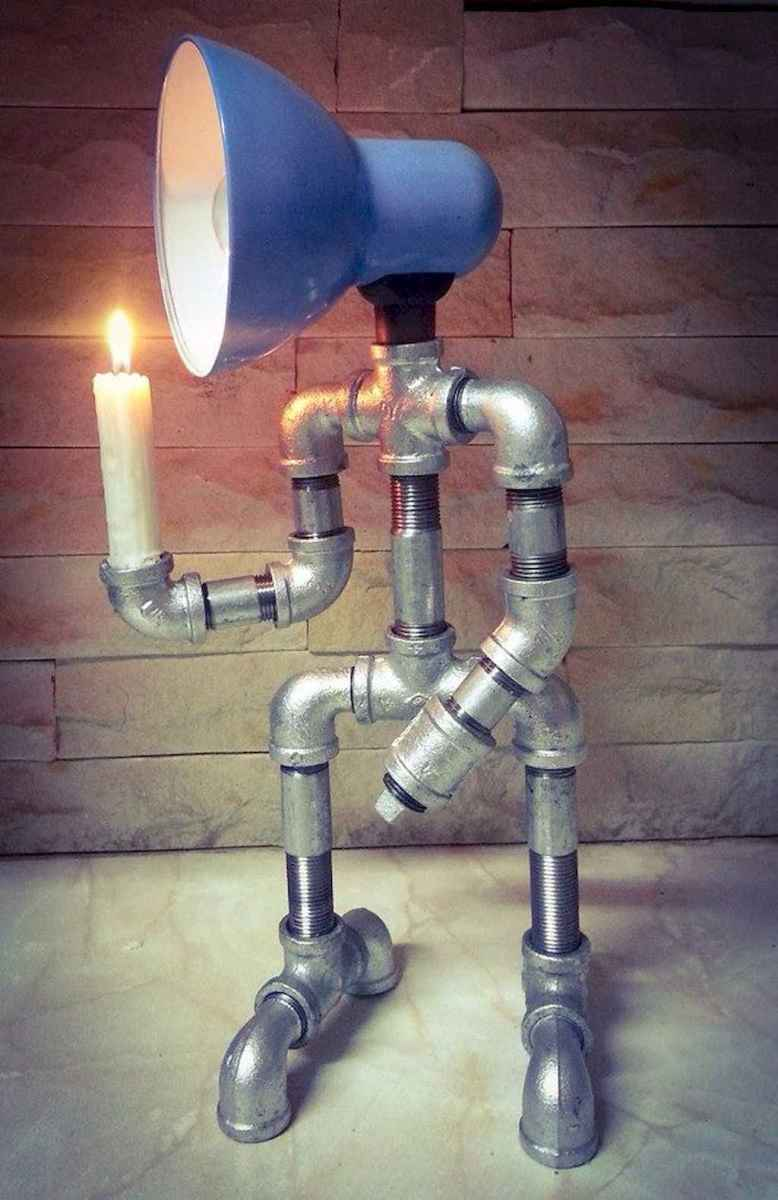 35 creative diy industrial pipe lamp design ideas robot to decor your home (19)