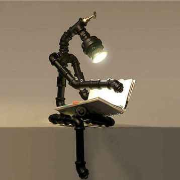 35 creative diy industrial pipe lamp design ideas robot to decor your home (21)