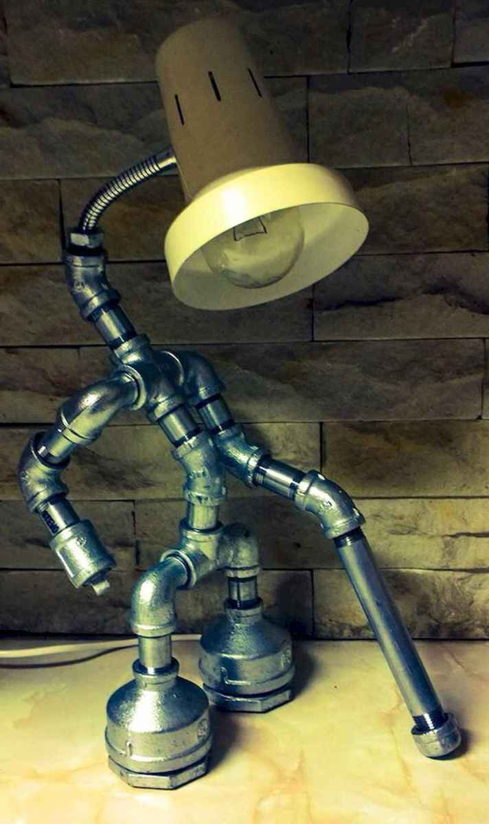 35 creative diy industrial pipe lamp design ideas robot to decor your home (28)