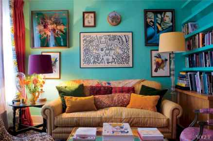 44 modern bohemian living room ideas for small apartment (4)