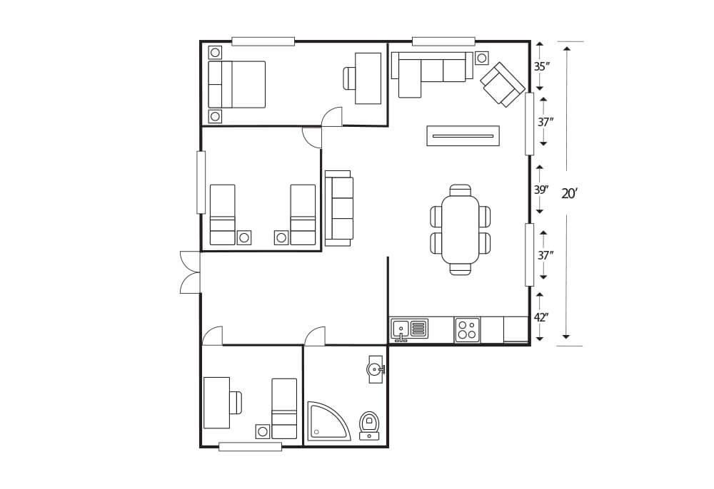 Modern Living Room Ideas Diagram